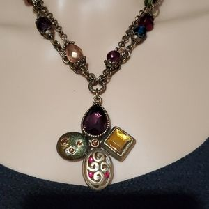 Chico's Brass Necklace with Multi Color Pendant